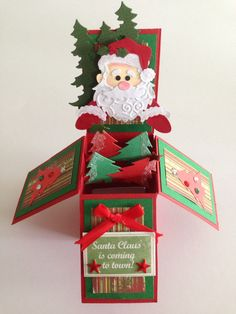Handmade christmas pop up box card by dianne Boxed Christmas Cards, Xmas Cards, Handmade Christmas, Holiday Cards, Pop Up Box Cards, 3d Cards, Card Boxes, Easel Cards, Fancy Fold Cards