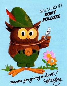New Woodsy Owl classic designed embroidered patch Give a hoot Don/'t pollute