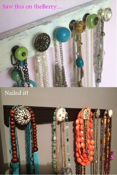 a strip of wood, paint, and groovy dresser knobs makes a necklace organizer that it tootoo cute. can't find cute enough knobs? check out ebay or thrift stores like goodwill!