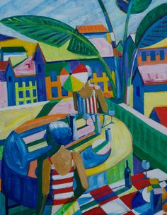 Suburbia Terrace, Acrylic on canvas, 60 x 36 inches Roland Petersen, Suburbia Terrace, Acrylic on canvas, 60 x 36 inches