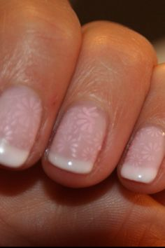 Pretty shellac manicure with Konad overlay By Louise leake