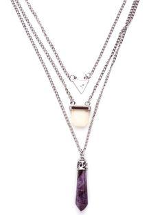 Collar de cadena a capas con colgante de cristal geométrico - violeta