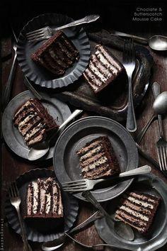 Chocolate  Butterscotch Mousse Cake