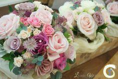 Dusky pink wedding bouquets - Bride and bridesmaid bouquets - Roses and astrantia - Laurel Weddings