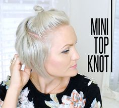 haar knot how to style a top knot on a pixie - Whippy Cake Pixie Updo, Wavy Pixie Cut, Blonde Pixie, Pixie Cuts, Asymmetrical Pixie, Blonde Hair, Great Haircuts, Haircuts With Bangs, Short Pixie Haircuts
