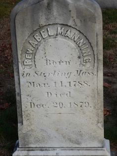 Nutfield Genealogy: Tombstone Tuesday ~ Rev. Abel Manning and his wife, Goffstown, New Hampshire #genealogy