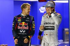 German Young Guns Sebastian Vettel and Nico Rosberg after Qualifying for #SingaporeGP #F1