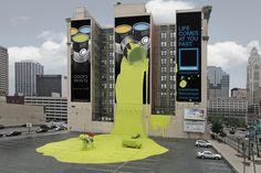 arte urbano bote pintura derramado parking street art tin yellow paint wtf miraquechulo