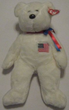 LIBEARTY the White USA Bear - Ty Beanie Baby BUDDY (buddies) - 13 inches  tall 873cb5941515