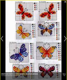 Butterfly cross stitch and chart. Cross Stitch Boards, Cross Stitch Bookmarks, Mini Cross Stitch, Cross Stitch Alphabet, Cross Stitch Animals, Counted Cross Stitch Patterns, Cross Stitch Designs, Cross Stitch Embroidery, Embroidery Patterns