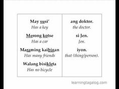 """Free Tagalog lessons for beginners In this video: * """"To have something"""" in Tagalog: Drills * Basic Tagalog phrases expressing """"to have"""" (has, have, had, will. Tagalog Words, Filipino Words, Learn English Words, Pinoy, My Passion, Languages, Vocabulary, Philippines, Homeschool"""