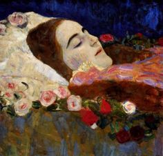 artmastered: Gustav Klimt, Ria Munk on her Deathbed, 1912 Ria Munk was just 24 years old when she committed suicide. Klimt was commissioned by Ria's parents to paint her portrait after her death, though she is shown sleeping peacefully in the final painting, her youthful beauty intact.