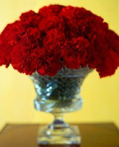 Idea!  carnations in a cylinder with a glass candle holder attached underneath cylinder.