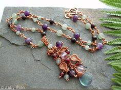 The Vine Pendant - copper - Flourite, Aventurine, Garnet, Lilac Amethyst, purple Amethyst and Copper