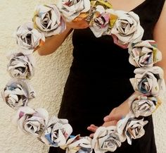 rose newspaper wreath
