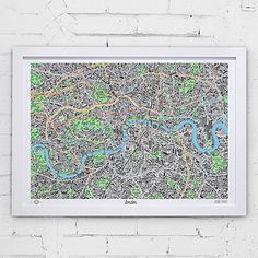 Hand drawn map of London. White Frame - Notonthehighstreet