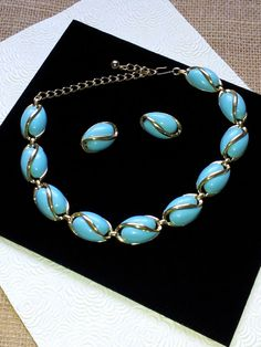1960's Turquoise Lucite and Goldtone Signed Coro by DixieDarlinVintage, $30.00