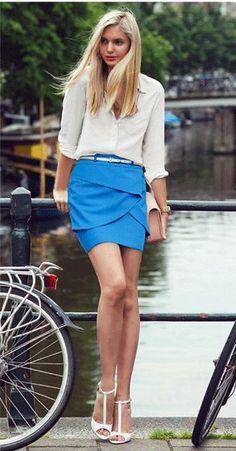 French Blue | Belt design Skirt.