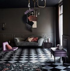 Splashes of pink and purple warm up the dark grey | Rum International | 10 Beautiful Rooms - Mad About The House