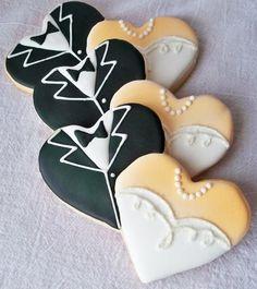 Black & white tux & bridal gown hear Wedding  cookie favors