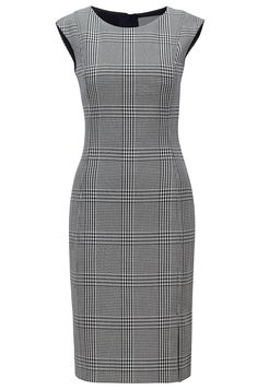 BOSS - Kleid aus Stretch-Gewebe mit Glencheck-Muster - Women's style: Patterns of sustainability Dress Outfits, Fashion Dresses, Dress Up, Bodycon Dress, Slim Fit Dresses, Dresses For Work, Vintage Pencil Dress, Hugo Boss, The Pretty Dress Company