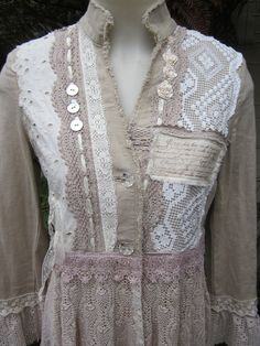 Vintage Kitty romance COAT...  lace, roses, crochet, . . dreamy coffee and ecru.. stunning needlework.. ooak.. french script.. SMALL. $379.00, via Etsy.