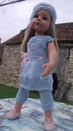 Gotz Doll, Hand made matching dress hat and leggings, 18/19 inch 50cm