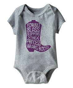 Another great find on #zulily! Gray Heather 'This Princess Wears Boots' Bodysuit - Infant #zulilyfinds