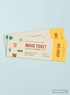 Channel the vibes of attending an old school film premiere with this well designed Movie Ticket temp Party Tickets, Movie Tickets, Ticket Invitation, Invitations, Concert Ticket Template, Old School Film, Easy Movies, Budapest Travel, Packaging