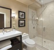 We have a small master bath, with same layout.   We do not need bathtub as our guest bathroom is large with a bathtub.  Opening our shower gives a more romantic feeling.