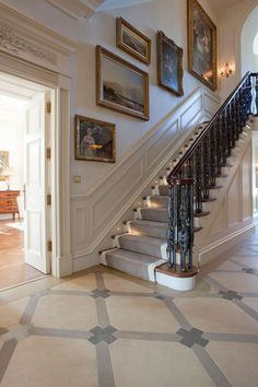 Janine Stone & Co. is a London based award winning architecture, luxury interior design and construction company. Georgian Interiors, Georgian Homes, Victorian Homes, Staircase Wall Decor, Staircase Remodel, Dream Home Design, House Design, Country Hallway, Luxury Staircase