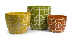 "Ellis Graphic Planters - Set of 3-Bright colors and bold graphic patterns define the Ellis Graphic Planters. Make a statement with them today! Material: 100% Ceramic. 6.75-8.5-10.75""h x 8.5-10-12""d."