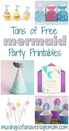 Mermaid Party Printables Tons of free mermaid birthday party printables including invitations, cupcake toppers, decorations, activities, party favors and more! Mermaid Party Decorations, Mermaid Parties, Birthday Party Decorations, Birthday Party Invitations, Mermaid Party Favors, Girl Birthday Themes, 6th Birthday Parties, Themed Parties, Birthday Nails