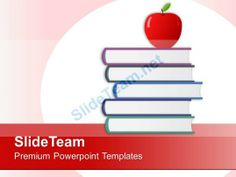 Apple With Stack Of Books Education Powerpoint Templates Ppt Themes And Graphics 0213 #PowerPoint #Templates #Themes #Background