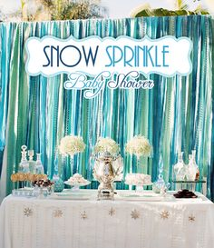 Winter Glam baby shower. Love the colors, backdrop and little details.