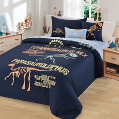 Deep Blue Coral and Yellow Dinosaur Pattern and Monogrammed Cretaceous Animal Hipster Style Cotton Twin, Full Size Bedding Sets Minimalist Bedroom, Modern Bedroom, Bedroom Decor, Bedroom Ideas, Bedroom Themes, Bedrooms, Twin Bedroom Sets, Dinosaur Bedroom, Dinosaur Bedding