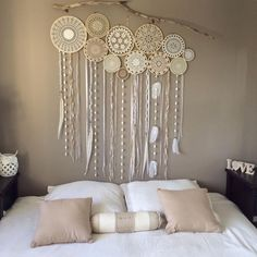 Dreamcatcher Wall Murals By Dreamcatcher Collective Dream Catcher Decor, Lace Dream Catchers, Crochet Decoration, Crochet Home Decor, Family Room Design, Home Room Design, Diy Projects Apartment, Crochet Wall Art, White Wall Clocks