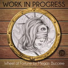 Who's ready for more art? Our next Work in Progress is from the fantastic @meganbuccere, who is creating the Wheel of Fortune for 78 Tarot Nautical. #78Tarot #WIP #Tarot #Art #MeganBuccere #WheelOfFortune #TarotArt #Nautical #78TarotNautical