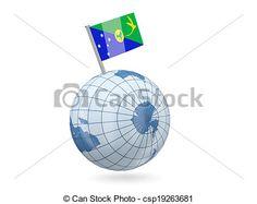 Globe with flag of christmas island. Blue globe with flag of christmas island isolated on white. Christmas Island, Globe, Royalty Free Stock Photos, Flag, Balloon, Science, Flags