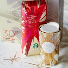 30th Anniversary Collection gift set of Christmas Blend coffee and a double wall traveler with sparkling Swarovski® crystals.