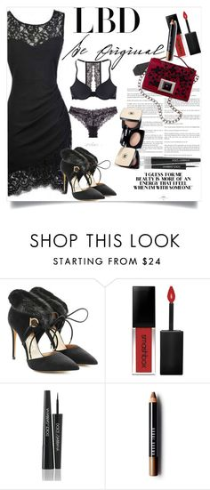 """LBD"" by clotheshawg ❤ liked on Polyvore featuring Salvatore Ferragamo, Andrew Gn, Smashbox, Dolce&Gabbana and Bobbi Brown Cosmetics"