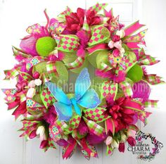 Deco Mesh Spring Wreath Lime Green Hot Pink with Butterfly Door WreathPurchase Summer Deco, Easter Wreaths, Holiday Wreaths, Dog Wreath, Heart Wreath, Summer Wreath, Spring Wreaths, Wreath Crafts, Wreath Ideas