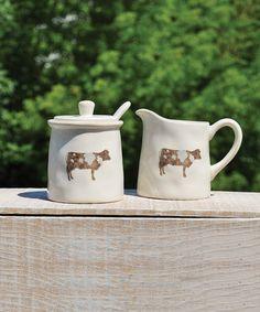 Another great find on #zulily! Ceramic Cow Cream & Sugar Set #zulilyfinds