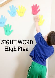 Sight Word High Five School Time Snippets Preschool Sight Words, Learning Sight Words, Sight Word Games, Sight Word Activities, Toddler Learning Activities, Literacy Activities, Fun Learning, Tricky Word Games, Sight Word Practice