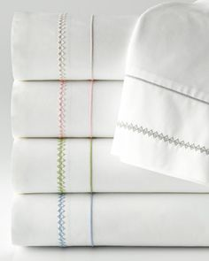 Giulia Sheets by Stamattina at Horchow. Bed Cover Sets, Bed Covers, Pillow Covers, Bed Cover Design, Bed Design, Shashiko Embroidery, Duvet Covers Urban Outfitters, Embroidered Bedding, How To Dress A Bed
