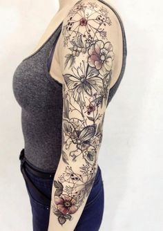 40 Exclusive And Stunning Arm Floral Sleeve Tattoo Designs For Your Inspiration - Page 4 of 40 - Chic Hostess Tattoos For Women Half Sleeve, Best Sleeve Tattoos, Tattoo Sleeve Designs, Nature Tattoo Sleeve Women, Half Sleeve Tattoos Lower Arm, Tattoo Women, Women Sleeve, Tattoos Skull, Body Tattoos