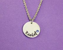 Name and Birthstone Necklace - Personalized Name Necklace - Gift For Teen Girl- Present for Tween Girl - Flower Girl- Engraved Name Necklace