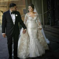 Vintage Mermaid Wedding Dresses With Detachable Train Arabic Sheer Neck Lace Appliques Plus Size Wedding Dress Long Sleeve Bridal Gowns Western Wedding Dresses, 2015 Wedding Dresses, Formal Dresses For Weddings, Wedding Dresses Plus Size, Princess Wedding Dresses, Plus Size Wedding, Bridal Dresses, Bridesmaid Dresses, Wedding Gowns