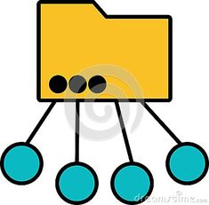 An icon for a multipurpose folder: A folder connected to several circles - Vector