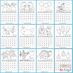 Printable 2015 Calendar for Kids to Color